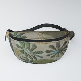 Green daisies on burlap Fanny Pack