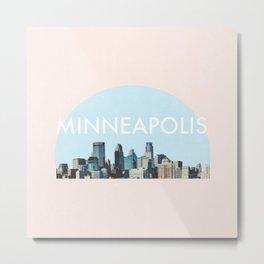 Minneapolis Minnesota Skyline Typography Simple Metal Print
