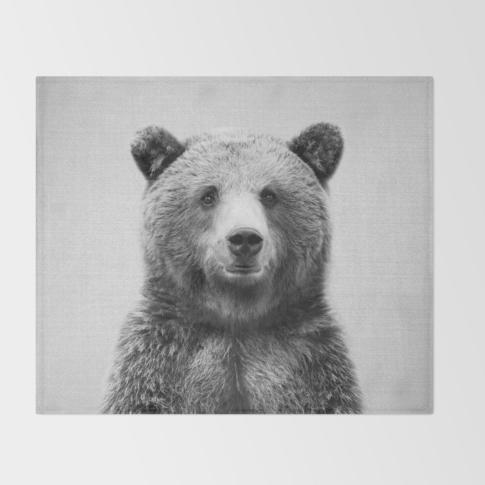 Grizzly Bear - Black & White Throw Blanket