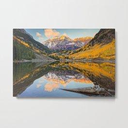 Maroon Bells Autumn Sunrise Aspen Colorado Mountain Fall Landscape Metal Print