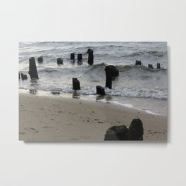 old dock with wave Metal Print