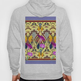Decorative Cream Color & Fuchsia Morning Glories Floral Yellow Butterflies Hoody