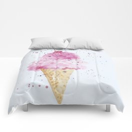 Ice cream Love Summer Watercolor Illustration Comforters