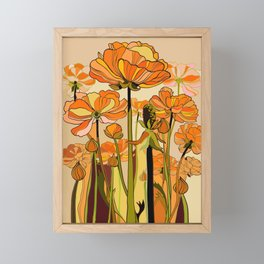 70s, Orange California poppies, mid century, 70s retro, flowers Framed Mini Art Print