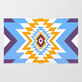 Bright blue native pattern Rug