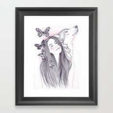 Wolf To The Moon Framed Art Print