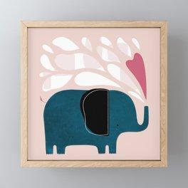 Little Blue Elephant Framed Mini Art Print