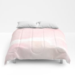 Pastel pink white modern hand painted watercolor. Comforters