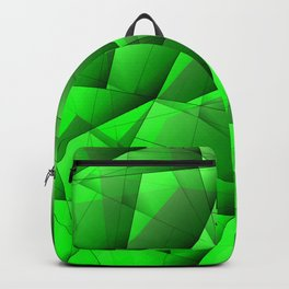 Abstract pattern of green and glowing plates of triangles and irregularly shaped lines. Backpack