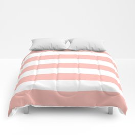 Melancholy - solid color - white stripes pattern Comforters