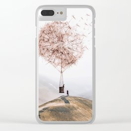Flying Dandelion Clear iPhone Case