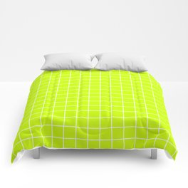 Electric lime - green color - White Lines Grid Pattern Comforters