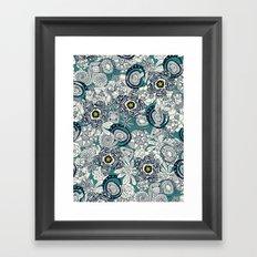 succulents blue chartreuse star Framed Art Print