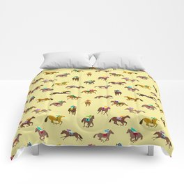 To The Horse Races (Yellow) Comforters
