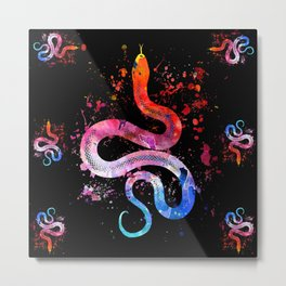 Snake Blacky Black Metal Print