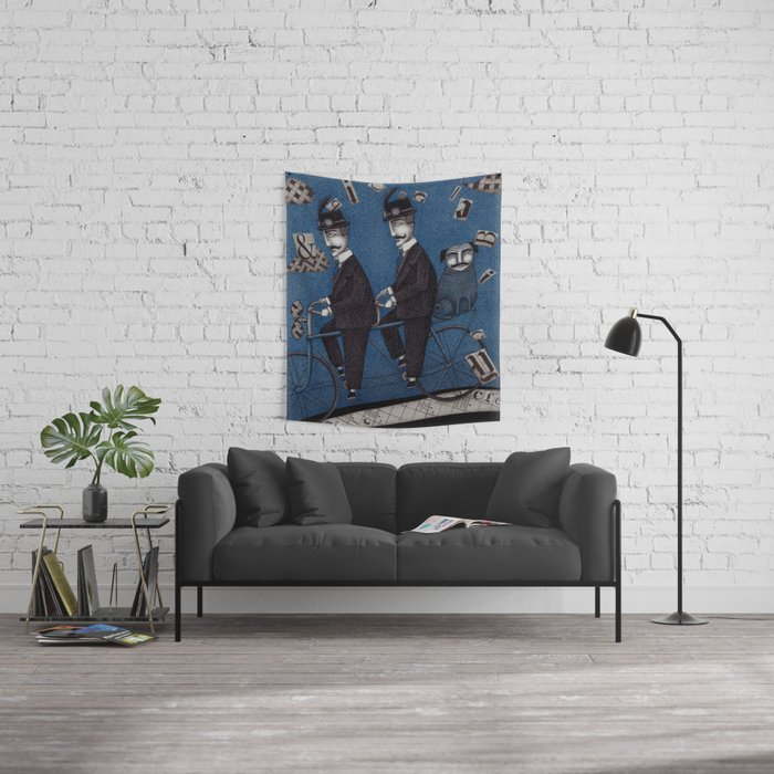 Two Men Travelling Wall Tapestry
