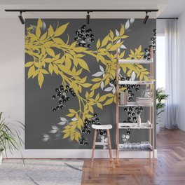 TREE BRANCHES YELLOW GRAY  AND BLACK LEAVES AND BERRIES Wall Mural