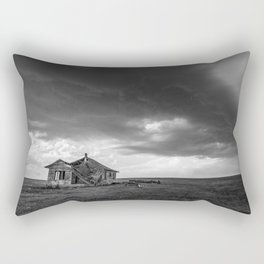 Sweeping Down the Plains - Abandoned House and Storm in Oklahoma Rectangular Pillow