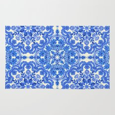 Cobalt Blue & China White Folk Art Pattern Rug