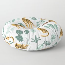 Tropical jungle leaves and lions pattern Floor Pillow