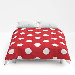 Polka Dots - White on Fire Engine Red Comforters
