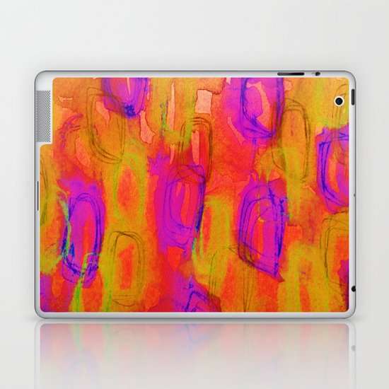 NOT YET, NIGHT - Bright Bold Colorful Abstract Watercolor Mixed Media Painting Warm Dusk Tones Laptop & iPad Skin