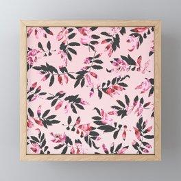 Girly Modern Pink Blush Black Floral Print Leaves Framed Mini Art Print