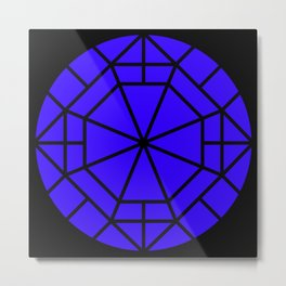 Moon Mystery Geometric Abstraction Blue Black Metal Print