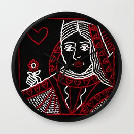 Red Queen Embroidery Wall Clock