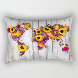 French Floral Bouquet on Rustic Upcycled Palette Wood World Map Art Rectangular Pillow