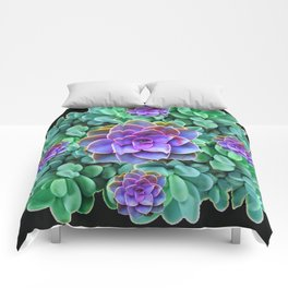 GREY-GREEN LILAC SUCCULENTS GARDEN  IN BLACK ART Comforters