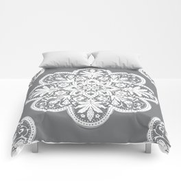 Floral Doily Pattern | Grey and White Comforters