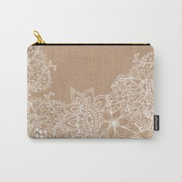 Modern white hand drawn floral illustration on rustic beige faux kraft color block Carry-All Pouch