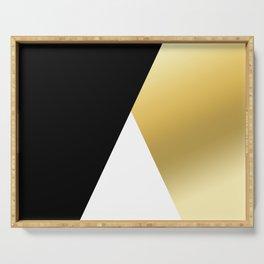 Elegant gold and black geometric design Serving Tray