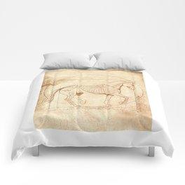 Da Vinci Horse In Piaffe Comforters
