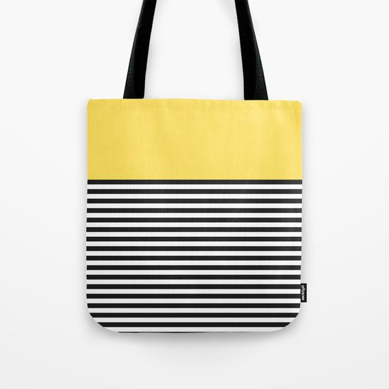 STRIPE COLORBLOCK {LEMON} Tote Bag