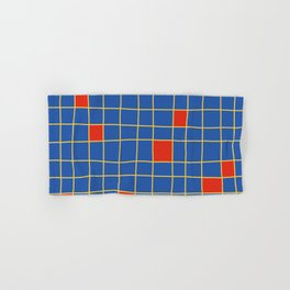 Abstract Red Squares Retro Grid Hand & Bath Towel