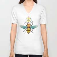 bee V-neck T-shirts featuring bee by Manoou