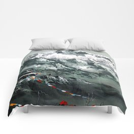 Panoramic View Of Mountain Everest Comforters
