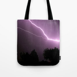 Purple Lightning Night Sky Tote Bag
