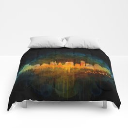 Austin Texas, City Skyline, watercolor  Cityscape Hq v4 Dark Comforters