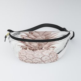 Rose Gold Pineapple on Black and White Marble Fanny Pack