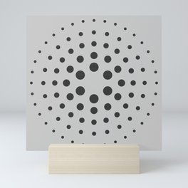 MidCentury Modern Spiral Dots Black & Grey Mini Art Print