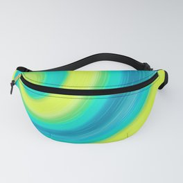 Abstract , yellow , green , wave Fanny Pack