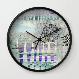 Blue Grey Abstract Art Collage Wall Clock