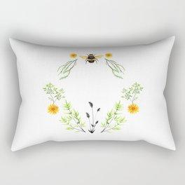 Bees in the Garden - Watercolor Graphic Rectangular Pillow