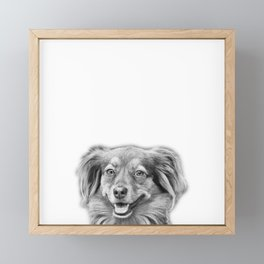 Happy dog face Framed Mini Art Print