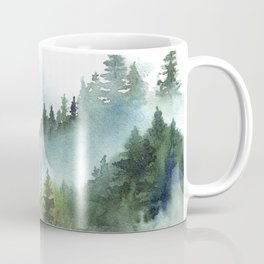 Watercolor Pine Forest Mountains in the Fog Coffee Mug