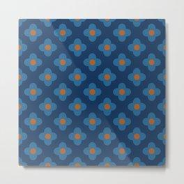 Scandinavian Floral Pattern Blue 60s Metal Print