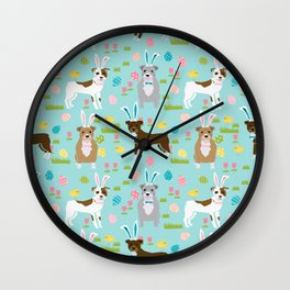 Pitbull easter dog breed pet patter rescue dog pibble lovers spring easter eggs Wall Clock